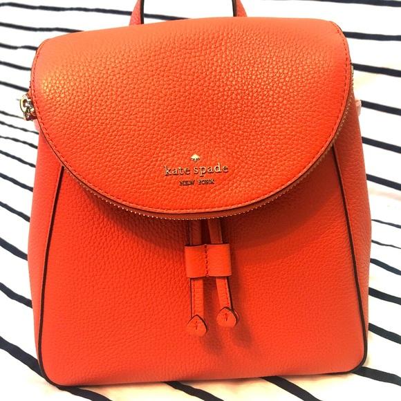 Kate Spade Leila medium flap backpack coral buds